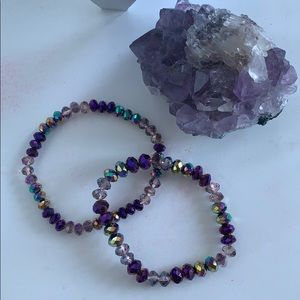 💥3 for $15💥 Gorgeous purple beaded bracelet set